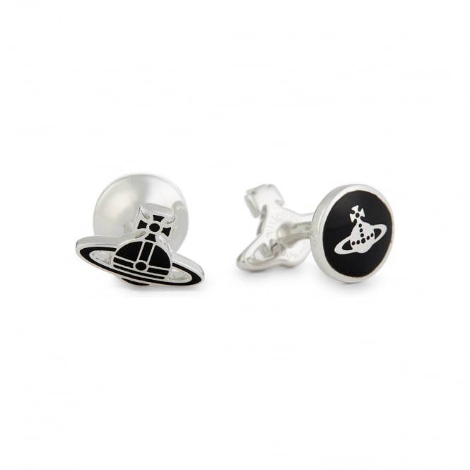 Vivienne Westwood Kate Cufflinks - Black/Rhodium ~ BCL1359/2