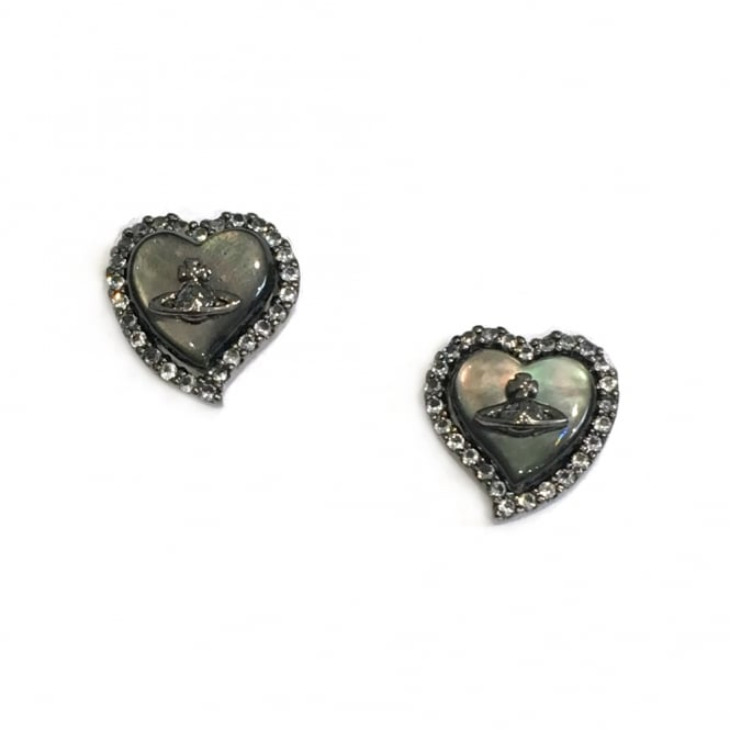 Vivienne Westwood Leontyne Heart Earrings - Ruthenium ~ BE1323/3