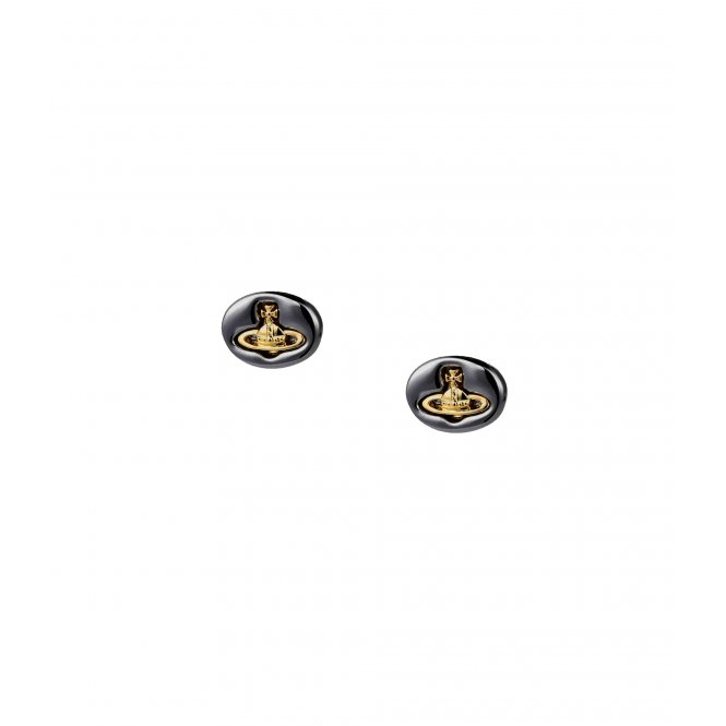 Vivienne Westwood Logo Stud Earrings - Gunmetal ~ 1222-07-03