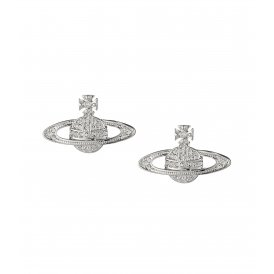 Vivienne Westwood Mini Bas Relief Rhodium Earrings ~ 0019/01/02