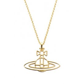 Vivienne Westwood Thin Lines Flat Orb Long Chain Pendant - Gold