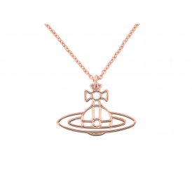 Vivienne Westwood Thin Lines Flat Orb Long Chain Pendant - Rose