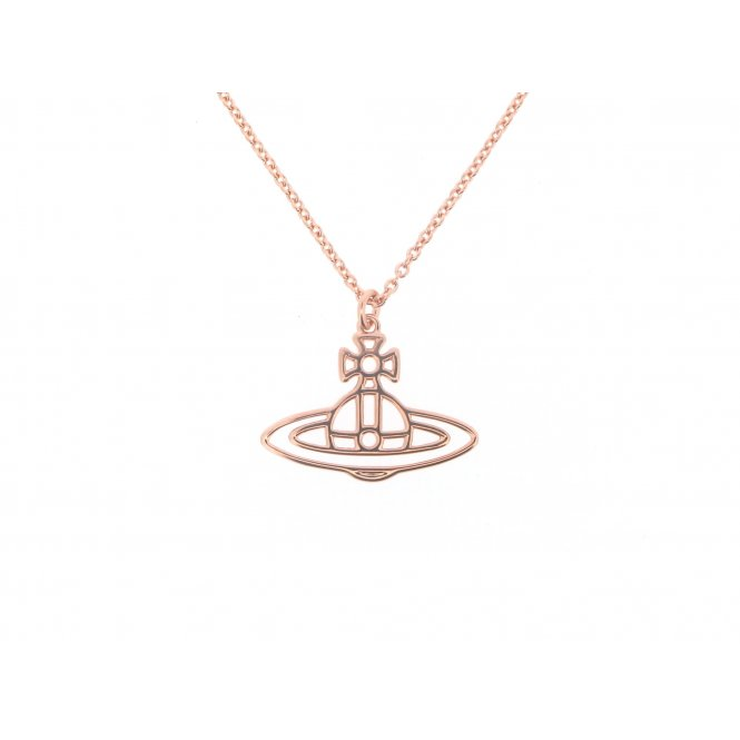 Vivienne Westwood Thin Lines Flat Orb Short Pendant Rose Gold