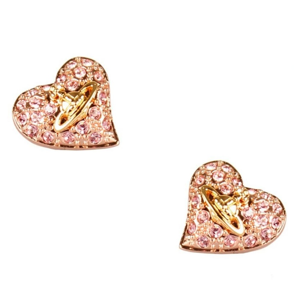 508c1e25f Vivienne Westwood Tiny Diamante Heart Stud Earrings - Rose Gold ~ 0770/21/04