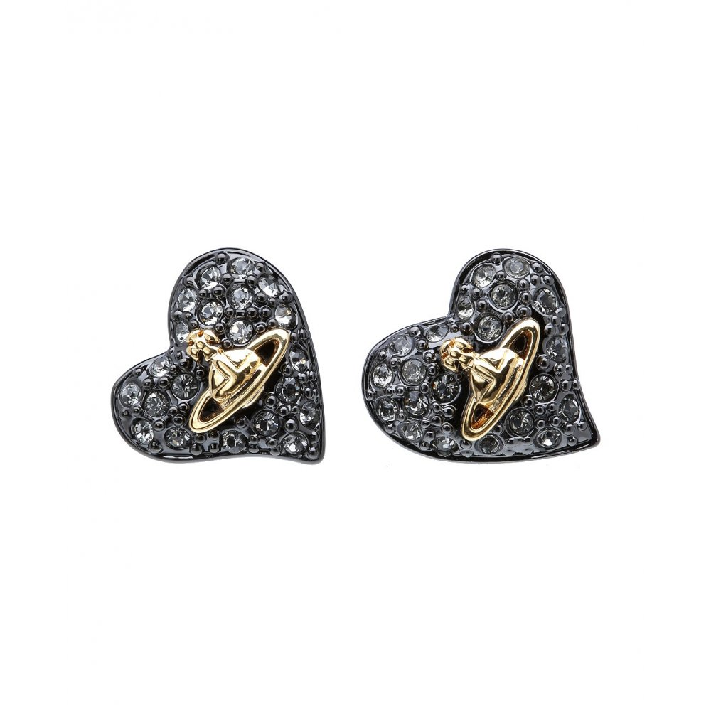 af0574146 Vivienne Westwood Tiny Diamante Heart Studs in Gun Metal - Jewellery ...