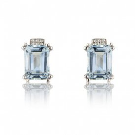 White Gold Diamond & Aquamarine Earrings ~ 7893WDAQ