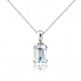 White Gold Diamond & Aquamarine Pendant ~ 6122WDAQ