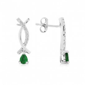 White Gold Diamond & Emerald Earrings ~ 7X14WDE