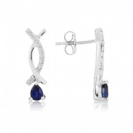 White Gold Diamond & Sapphire Earrings ~ 7X14WDS