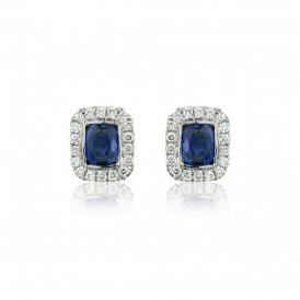 White Gold Diamond & Sapphire Earrings ~ 8F41W-18DS