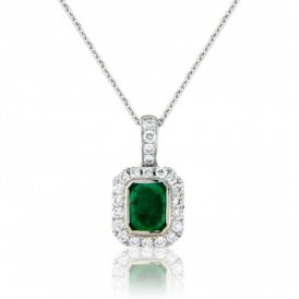 White Gold Emerald & Diamond Surround Pendant ~ 6S45W-18DE