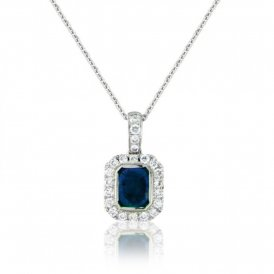 White Gold Sapphire & Diamond Surround Pendant ~ 6S45W-18DS