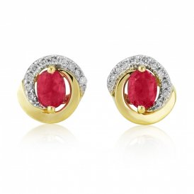Yellow Gold Diamond & Ruby Earrings ~ 8G82-18DR