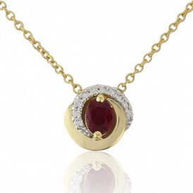Yellow Gold Diamond & Ruby Pendant ~ 2V73-18DR