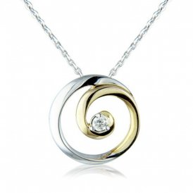 Yellow & White Gold Diamond Circle Pendant ~ 6L58D